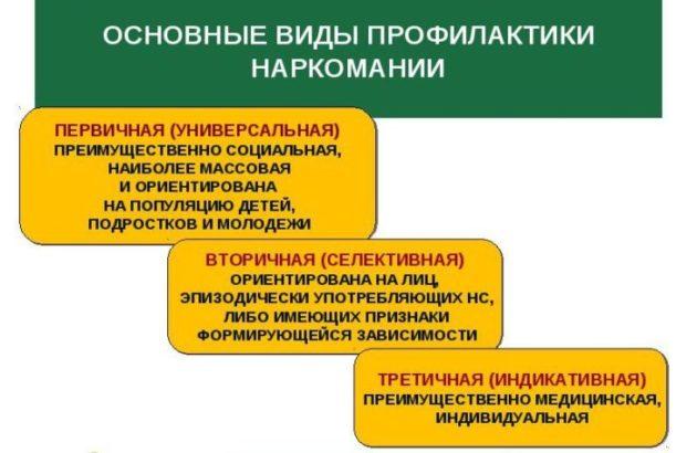 Основные виды профилактики наркомании