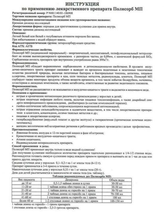 Инструкция к препарату Полисорб
