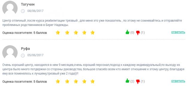 Отзвыв о клиннике Берег Надежды в Екатеренбург - clinic-top.ru