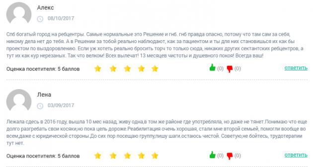 Отзвыв о клиннике Решение в Санкт-Петербурге - clinic-top.ru
