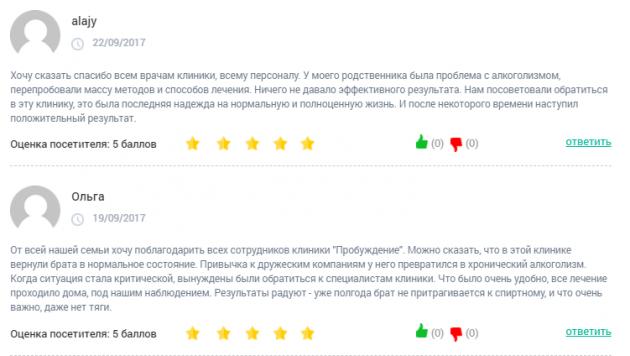 Отзыв о клинике «Пробуждение» в Краснодаре - clinic-top.ru
