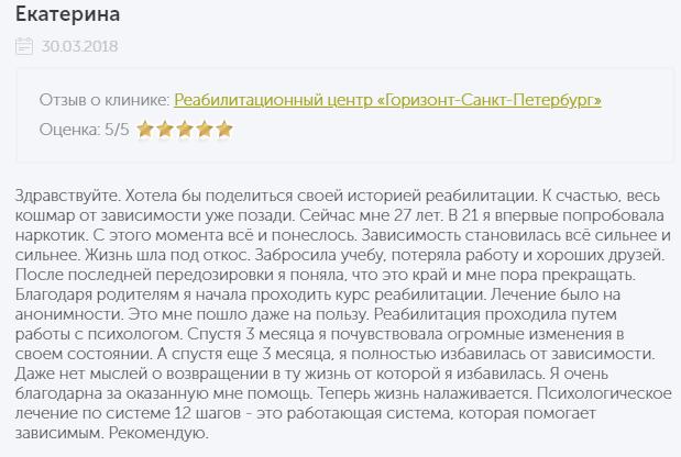 Отзыв о нарко клиннике Горизонт в Санкт-Петербурге - narko-kliniki.ru