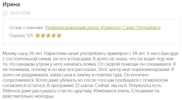 Отзыв о наркологической клиннике Горизонт в Санкт-Петербурге - narko-kliniki.ru