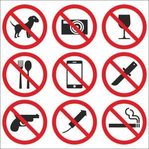 Запрещено брать с собой в клинику