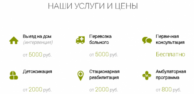 Цены на услуги центра