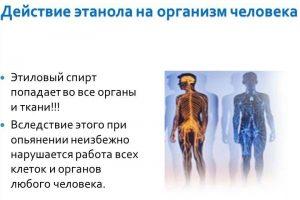 Действие этанола на организм человека