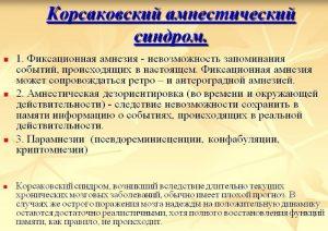Корсаковский амнестический синдром