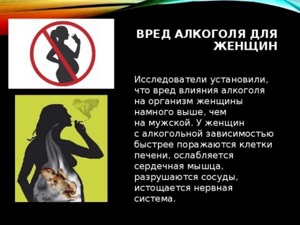 Опасность алкогольных напитков для женщин