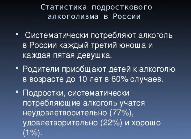 Статистика подросткового алкоголизма в России
