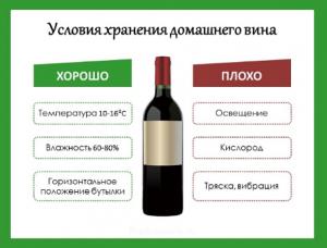 Условия хранения домашнего вина
