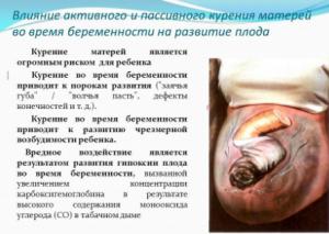 Влияние активного и пассивного курения матерей во время беременности