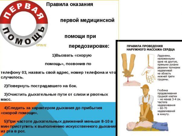 Правила оказания первой медицинской помощи при передозировке